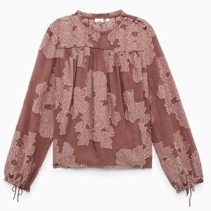 Wilfred Lourdes Blouse Mauve Floral Ruffled